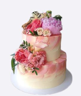 Двухъярусный свадебный торт без мастики 10 Фото