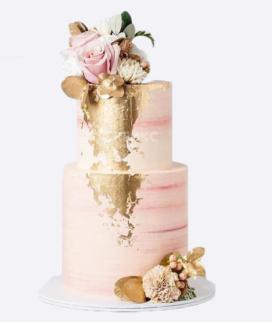 Двухъярусный свадебный торт без мастики 11 Фото