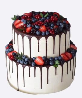 Двухъярусный свадебный торт без мастики 12 Фото