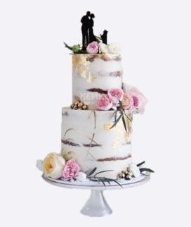 Двухъярусный свадебный торт без мастики 13 Фото
