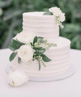 Двухъярусный свадебный торт без мастики 14 Фото