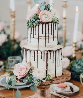 Двухъярусный свадебный торт без мастики 15 Фото