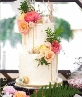 Двухъярусный свадебный торт без мастики 16 Фото