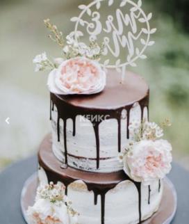 Двухъярусный свадебный торт без мастики 17 Фото