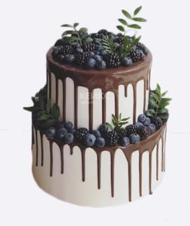 Двухъярусный свадебный торт без мастики 18 Фото