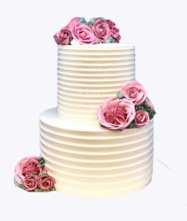 Двухъярусный свадебный торт без мастики 2 Фото