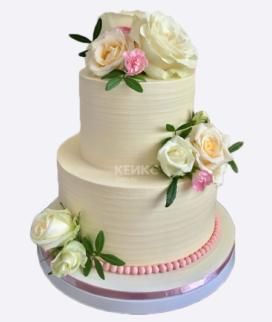 Двухъярусный свадебный торт без мастики Фото
