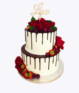 Двухъярусный свадебный торт без мастики 3 Фото