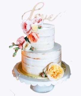 Двухъярусный свадебный торт без мастики 4 Фото