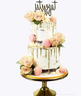 Двухъярусный свадебный торт без мастики 5 Фото