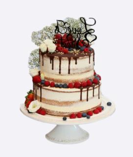 Двухъярусный свадебный торт без мастики 6 Фото