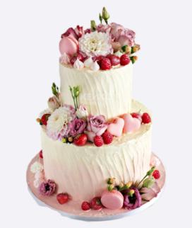 Двухъярусный свадебный торт без мастики 7 Фото