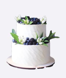 Двухъярусный свадебный торт без мастики 8 Фото