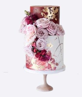 Двухъярусный свадебный торт без мастики 9 Фото