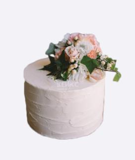 Одноярусный свадебный торт без мастики 10 Фото