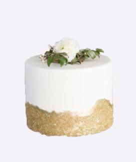 Одноярусный свадебный торт без мастики 11 Фото
