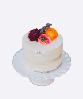 Одноярусный свадебный торт без мастики 12 Фото