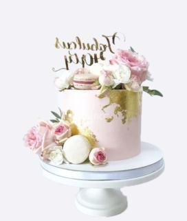 Одноярусный свадебный торт без мастики 13 Фото