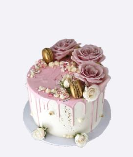 Одноярусный свадебный торт без мастики 14 Фото