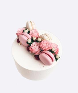 Одноярусный свадебный торт без мастики 15 Фото