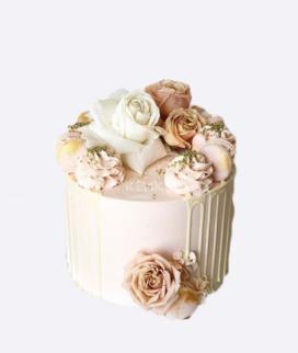 Одноярусный свадебный торт без мастики 16 Фото