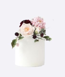 Одноярусный свадебный торт без мастики 17 Фото