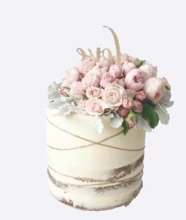 Одноярусный свадебный торт без мастики 18 Фото