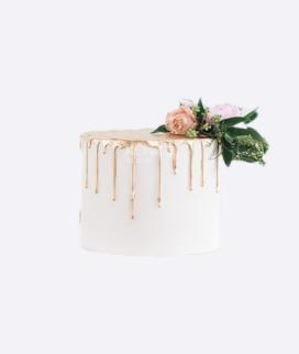 Одноярусный свадебный торт без мастики 2 Фото