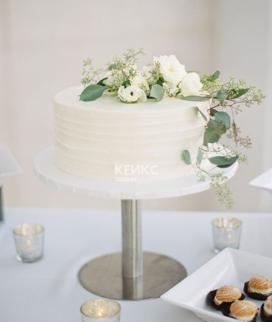 Одноярусный свадебный торт без мастики 21 Фото