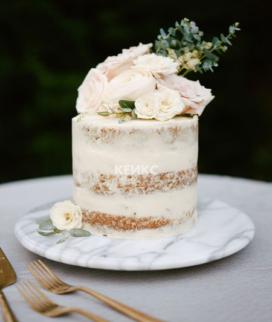 Одноярусный свадебный торт без мастики 22 Фото