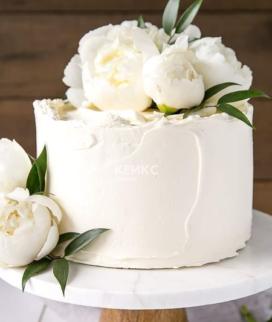 Одноярусный свадебный торт без мастики 23 Фото