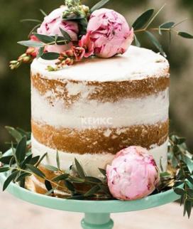 Одноярусный свадебный торт без мастики 25 Фото