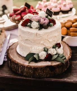 Одноярусный свадебный торт без мастики 26 Фото