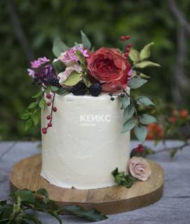 Одноярусный свадебный торт без мастики 27 Фото