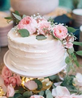 Одноярусный свадебный торт без мастики 28 Фото