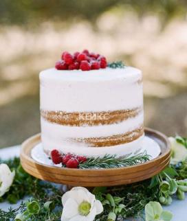 Одноярусный свадебный торт без мастики 29 Фото