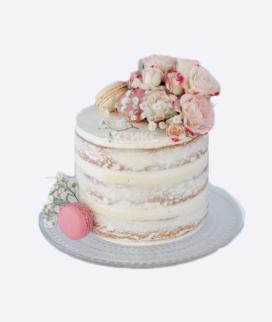 Одноярусный свадебный торт без мастики 3 Фото