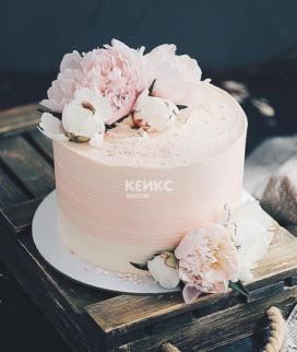 Одноярусный свадебный торт без мастики 30 Фото