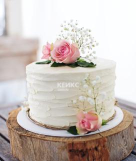 Одноярусный свадебный торт без мастики 31 Фото