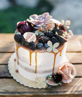 Одноярусный свадебный торт без мастики 33 Фото