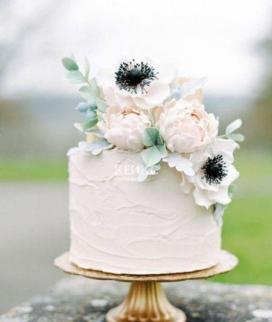 Одноярусный свадебный торт без мастики 34 Фото