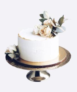 Одноярусный свадебный торт без мастики 5 Фото