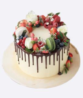 Одноярусный свадебный торт без мастики 6 Фото