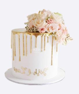 Одноярусный свадебный торт без мастики 7 Фото