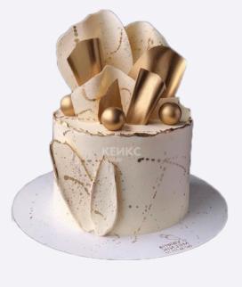 Одноярусный свадебный торт без мастики 8 Фото