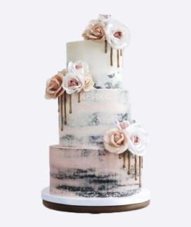Трехъярусный свадебный торт без мастики 1 Фото
