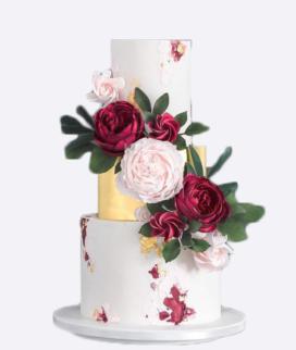 Трехъярусный свадебный торт без мастики 10 Фото