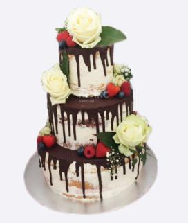 Трехъярусный свадебный торт без мастики 11 Фото