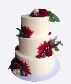 Трехъярусный свадебный торт без мастики 12 Фото