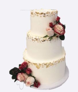 Трехъярусный свадебный торт без мастики 13 Фото